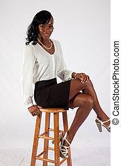 bastante, negro, mujer, blanco, blusa