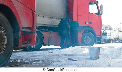 Truck drivers on the way - Truck drivers is resting after a...
