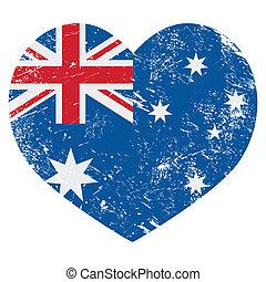 Australia retro heart flag
