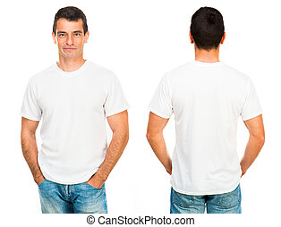 Teenager With Blank White Shirt - White t-shirt on a young...