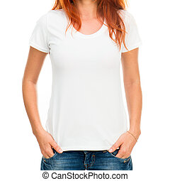 girl in white t-shirt - white t-shirt on a smiling girl with...