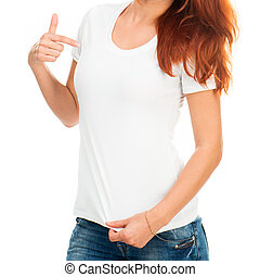 girl in white t-shirt - white t-shirt on a girl with perfect...