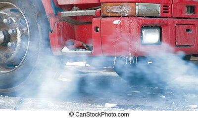 Truck repairing in the winter - Truck repairing defrosting...