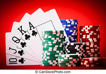 stack of chips with cards