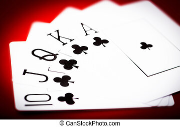 cards with royal flash - Royal flash of clubs on red poker...