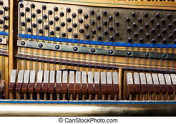 close up of old inside element piano - Inside an Upright...