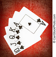 cards with royal flash - Royal flash of clubs on grunge...