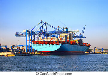Loading Container Ship - Big port cranes and a Container...