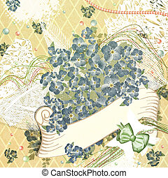 Holiday Greetings Background With Flowers and Copyspace...