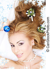 lovely woman with christmas ball - picture of lovely woman...