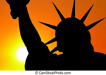 Statue of Liberty Sunset Sky Silhoulette
