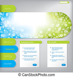Website template design with product options
