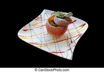 Compote de pommes dans pomme fraiche
