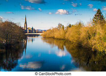 The River Tay, Perth Scotland - A shot of the River Tay in...