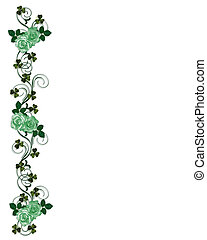 St Patricks Day Shamrocks and roses - Illustration for St...