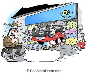 A car wash that has gone badly wrong
