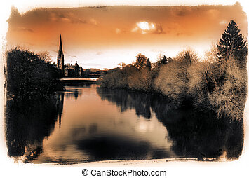 River Tay in Perth Scotland - Abstract view of the River Tay...