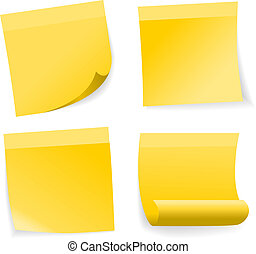 Yellow note set on white background, vector.