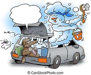 coche, encima, limpieza, nube, rollo