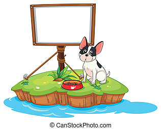 A framed signage with a dog - Illustration of a framed...