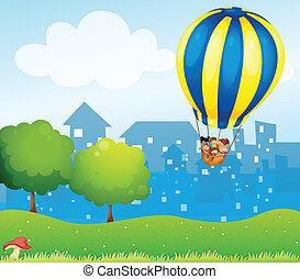 A big hot air balloon above the hill - Illustration of a big...