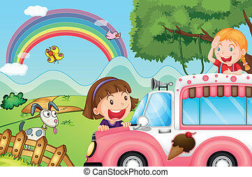 The pink icecream bus and the two happy girls - Illustration...