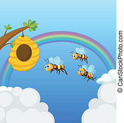 A beehive and the three bees - Illustration of a beehive and...