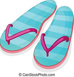 Blue stripe sandal - Illustration of a blue stripe sandal on...