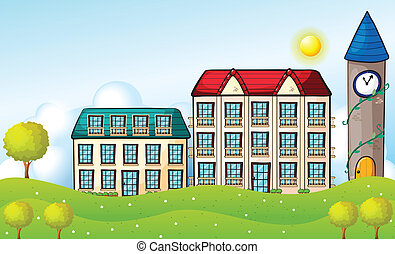 Two dormitories across the hill - Illustration of the two...