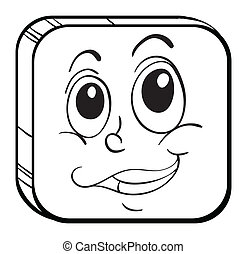 A rounded square with a face - Illustration of a rounded...