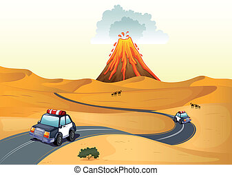 A desert with two patrol cars - Illustration of a desert...
