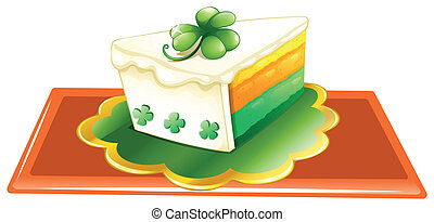 A slice of cake for the celebration of St. Patrick's day