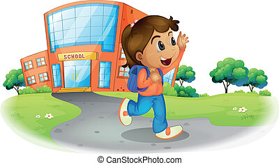 A girl going home from school - Illustration of a girl going...