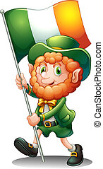 A old man with the flag of Ireland - Illustration of a old...