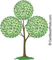 Abstract green tree. Vector - Abstract green tree with round...