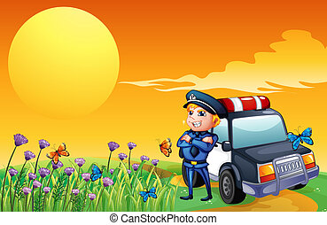 A sunset view with a policeman and a car at the hill -...