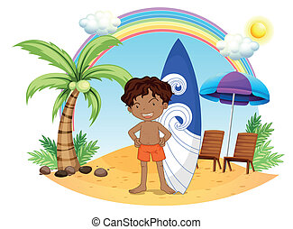 A boy and his surfing board at the beach - Illustration of a...