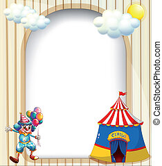 An empty template with a circus tent and a male clown