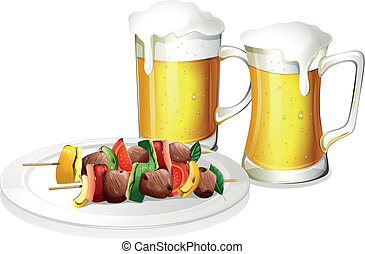 Two glasses of beer with a plate of barbeque - Illustration...