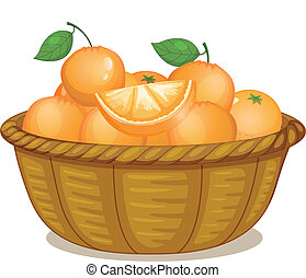 A basket full of oranges - Illustration of a basket full of...