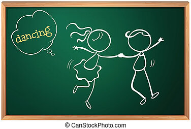A blackboard with a sketch of two people dancing -...