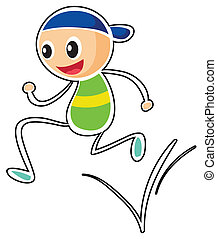A little boy running - Illustration of a little boy running...
