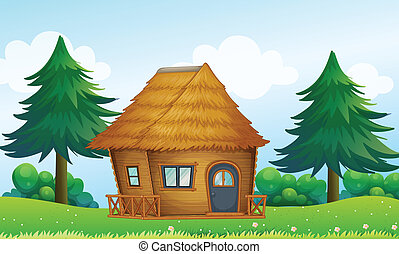 A native house in the hill - Illustration of a native house...