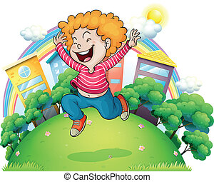 A young gentleman jumping for joy at the hill - Illustration...