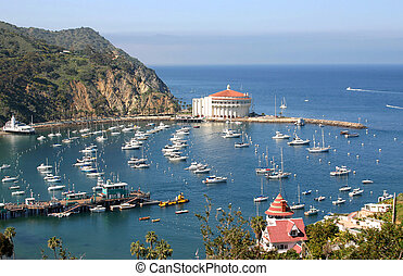 Avalon Bay in Catalina - Avalon Bay from the hills on...