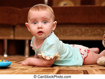 Surprised Baby on the Floor - Surprised Little Baby on the...