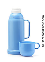 Plastic Thermos Flask - Blue Plastic Thermos Flask And Cup...