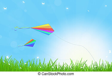 Summer Kites - shiny day outdoor in the nature with flying...