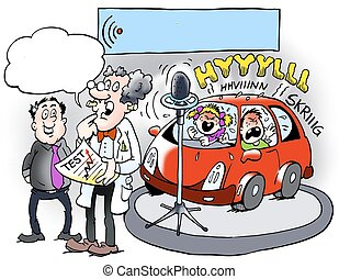 A professor testing the noise level in a new car