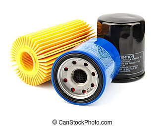 Oil Filter isolated on White BackgroundAutomobi le spare...